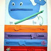 Куклы и игрушки ручной работы. Ярмарка Мастеров - ручная работа Развивающее панно А3 Кит (молнии+рыбалка). Handmade.