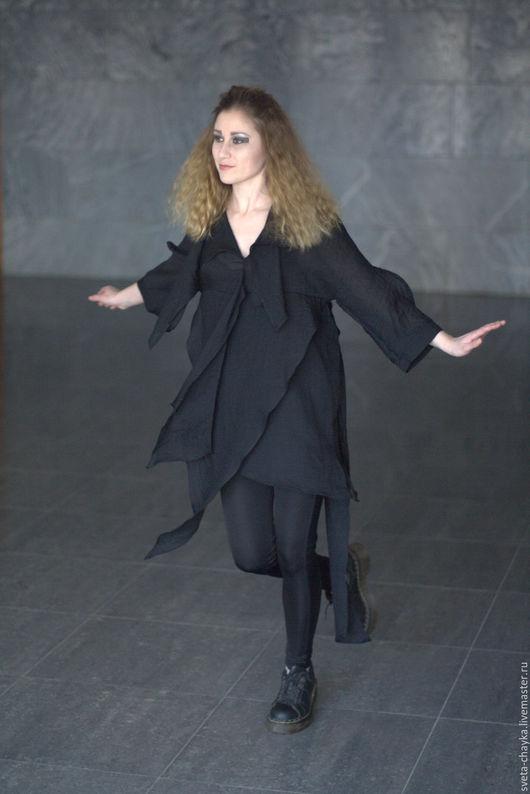 Блузки ручной работы. Ярмарка Мастеров - ручная работа. Купить Блузка-туника из батиста чёрная с разрезами асимметричная. Handmade. Черный