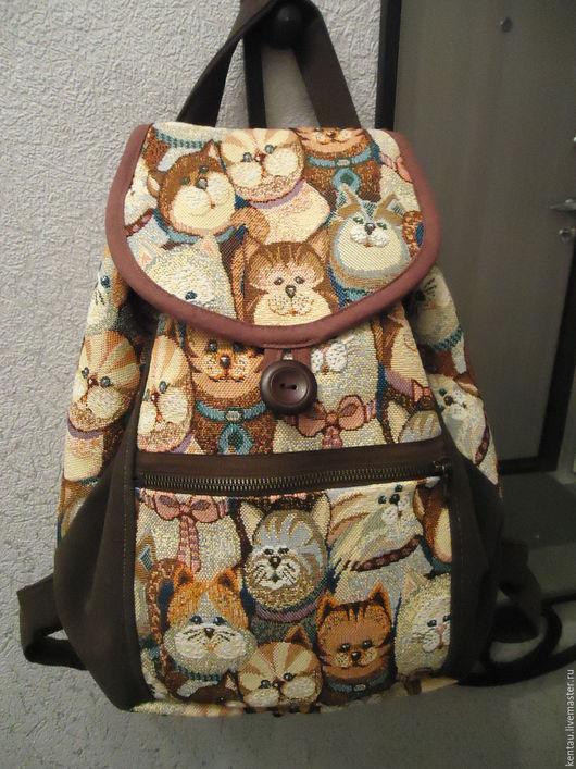 """Рюкзаки ручной работы. Ярмарка Мастеров - ручная работа. Купить Рюкзак """"Весь в котах"""". Handmade. Коричневый, купить рюкзак, гобелен"""
