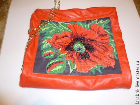 Женские сумки ручной работы. Ярмарка Мастеров - ручная работа. Купить Маковый цвет. Handmade. Ярко-красный, натуральная кожа