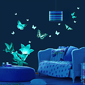 Для дома и интерьера handmade. Livemaster - original item Luminous vinyl stickers - Butterflies and flowers. For walls and ceilings. Handmade.