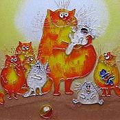 Картины и панно handmade. Livemaster - original item The picture on the glass Friendly family. Blue cats by Rina, Sanuk. Handmade.
