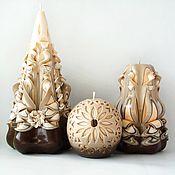 Резные свечи в наборе, коричневый бежевый, подарок на 8 марта женщинам