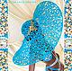 Шляпы ручной работы. Ярмарка Мастеров - ручная работа. Купить Кружевная шляпа от Olga Lace. Handmade. Бирюзовый, голубой, фурнитура