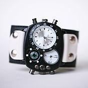 Украшения handmade. Livemaster - original item Brutal BW quartz wrist watch on a wide leather bracelet. Handmade.