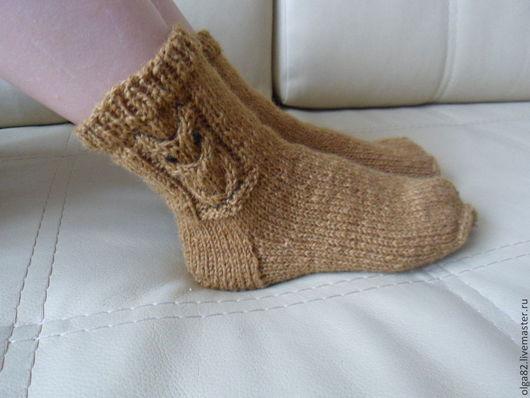 """Носки, Чулки ручной работы. Ярмарка Мастеров - ручная работа. Купить Шерстяные  носочки """"Совёнок"""". Handmade. Коричневый, совенок"""