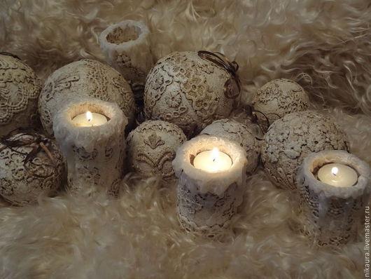 Набор  Новогодних шаров с подсвечником ручной работы в стиле винтаж