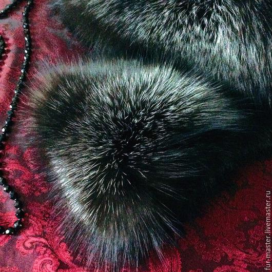 Шали, палантины ручной работы. Ярмарка Мастеров - ручная работа. Купить Горжетка из лисы «Black night». Handmade. Серебристо-черный