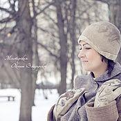 """Аксессуары handmade. Livemaster - original item Войлочный  комплект  шарфик, шляпка и варежки  """"Тирамису"""". Handmade."""