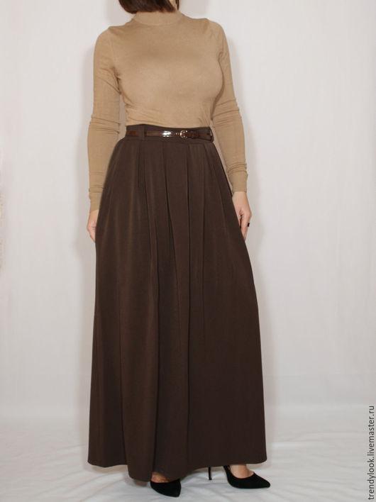 Юбки ручной работы. Ярмарка Мастеров - ручная работа. Купить Коричневая юбка с карманами,длинная юбка в складку, теплая юбка. Handmade.