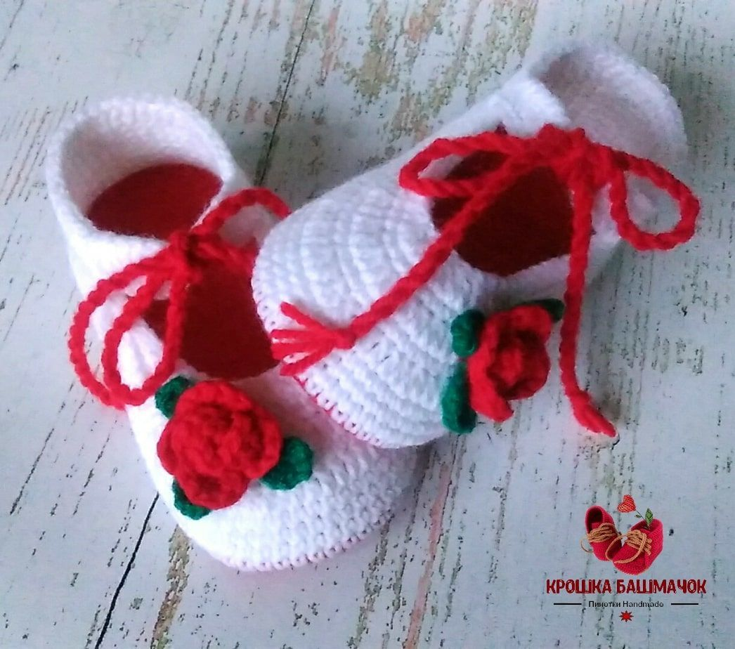 Booties knitted Shoes with rose for girl, Booties, Krasnodar, Фото №1