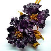Украшения handmade. Livemaster - original item Leather flowers Brooch Merry notes Note TO. Handmade.