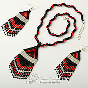 Jewelry Sets handmade. Livemaster - original item Pendant and earrings with fringe 3 options. Handmade.
