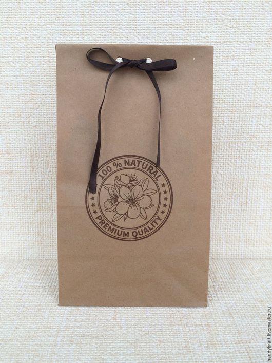 Упаковка ручной работы. Ярмарка Мастеров - ручная работа. Купить Крафт-пакет с рисунком 12х24 см. Handmade. Коричневый