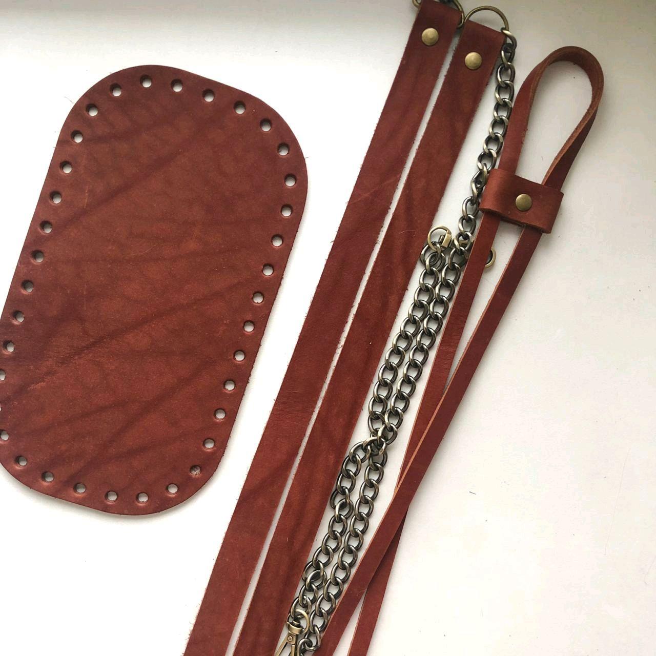 Вязание ручной работы. Ярмарка Мастеров - ручная работа. Купить Набор для торбы натуральная кожа. Handmade. Натуральная кожа, цепь