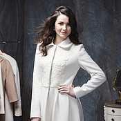 Одежда handmade. Livemaster - original item Woman White Wedding Wool A-line Coat C-1 with Lace, Jackets and Coats. Handmade.