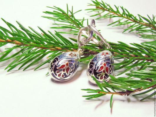 Серьги ручной работы. Ярмарка Мастеров - ручная работа. Купить Серьги Рождественские капли с перегородчатой эмалью. Handmade. Тёмно-синий