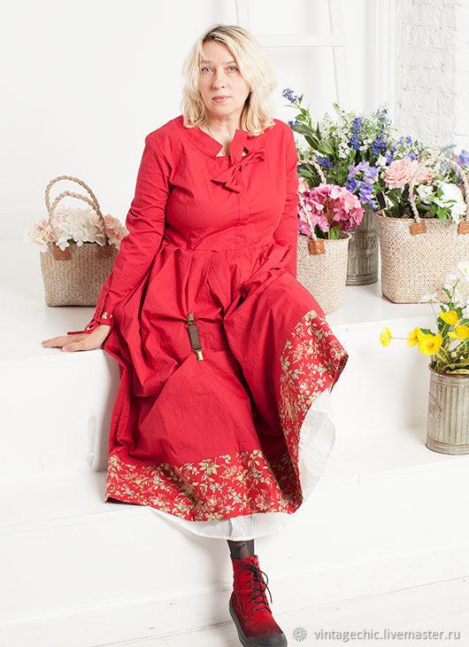 78ef6b57e6d Платья ручной работы. Ярмарка Мастеров - ручная работа. Купить Платье-бохо из  красного ...