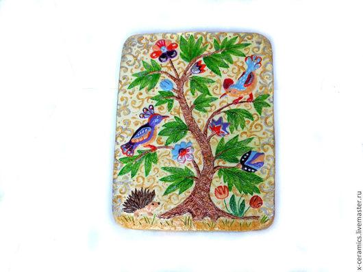 Авторская керамика Ксении Гольд. Панно керамическое `Птицы в райском саду`