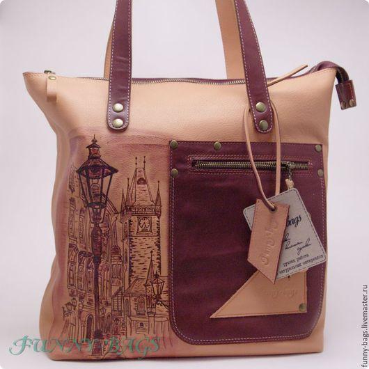 """Женские сумки ручной работы. Ярмарка Мастеров - ручная работа. Купить Кожаная сумка, большая для шоппинга. """"Ночь, улица, фонарь, аптека"""". Handmade."""