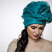 Аксессуары handmade. Livemaster - original item Turquoise silk organza turban with a bead Pearl. Handmade.