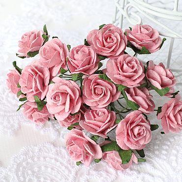 Цветы и флористика ручной работы. Ярмарка Мастеров - ручная работа Бумажные цветы Розовые пудровые 2 см Бумажные розы для скрапбукинга. Handmade.