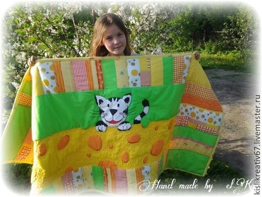 """Пледы и одеяла ручной работы. Ярмарка Мастеров - ручная работа. Купить Лоскутное одеяло для детей """"Оранжевый кот"""". Handmade. Печворк"""