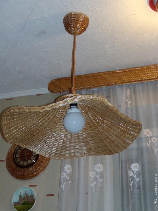 Освещение ручной работы. Ярмарка Мастеров - ручная работа. Купить Потолочный светильник из лозы(шляпа). Handmade. Коричневый, интерьер, Плетение из лозы
