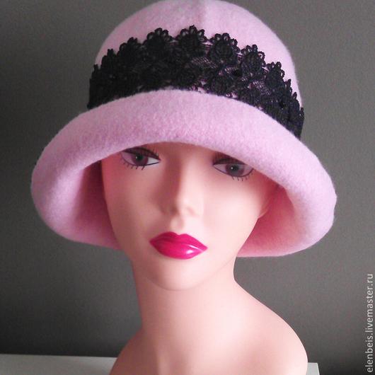 Шляпы ручной работы. Ярмарка Мастеров - ручная работа. Купить Шляпа с черным кружевом. Handmade. Розовый, черное кружево