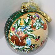 Подарки к праздникам ручной работы. Ярмарка Мастеров - ручная работа Новогодний шар с белками. Handmade.