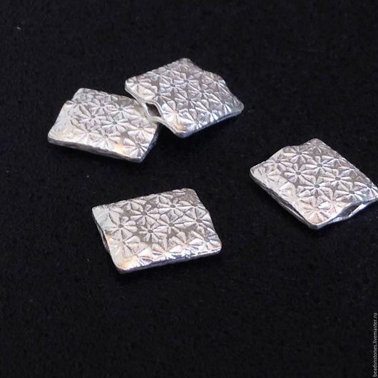Для украшений ручной работы. Ярмарка Мастеров - ручная работа. Купить Бусина SPP827 прямоугольник, серебро, большая. Handmade. Серебряный