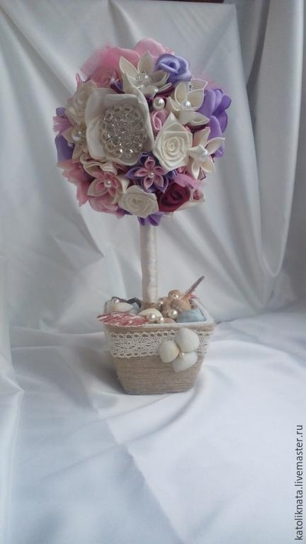 Свадебные цветы ручной работы. Ярмарка Мастеров - ручная работа. Купить свадебный букет невесты, букет из атласных лент брошь-букет, топиарий. Handmade.