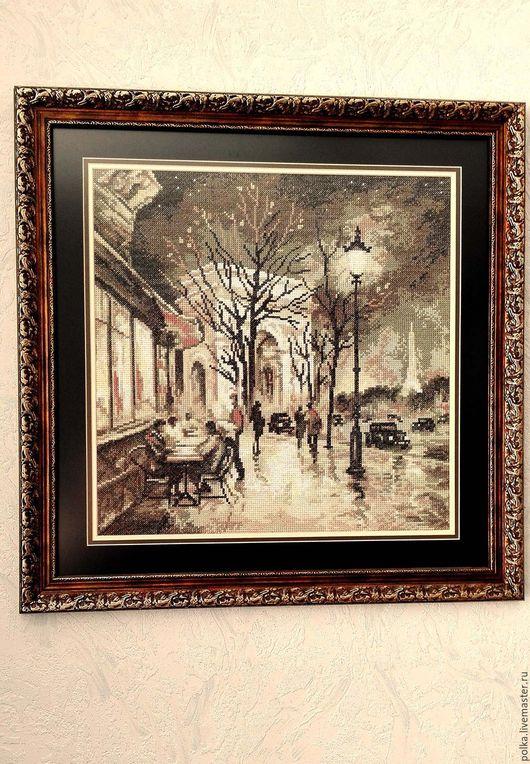 Пейзаж ручной работы. Ярмарка Мастеров - ручная работа. Купить Вышитая картина Огни Парижа. Handmade. Комбинированный, Вышивка крестом