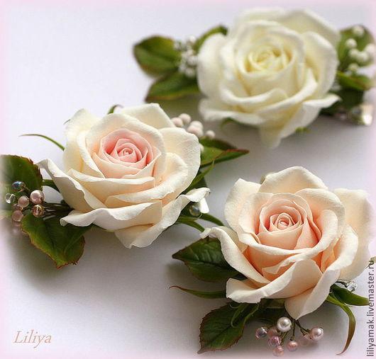 Заколки ручной работы. Ярмарка Мастеров - ручная работа. Купить Роза чайная, роза белая (зажим для волос). Handmade. Бежевый
