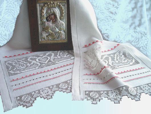 льняной рушник на икону с вышивкой венчальный рушник с белой вышивкой свадебный рушник строчевая вышивка белым по белому ручная вышивка красные мулине