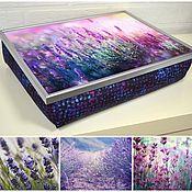 Для дома и интерьера ручной работы. Ярмарка Мастеров - ручная работа Столик поднос на фиолетовой подушке с принтом (с вашей картинкой). Handmade.