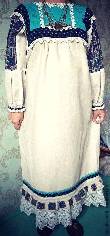 Одежда ручной работы. Ярмарка Мастеров - ручная работа. Купить Стилизованое русское платье с символическими фрагментами. Handmade. Платье, штапель