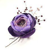 Украшения handmade. Livemaster - original item Night Punch. Brooch - handmade flower fabric.. Handmade.