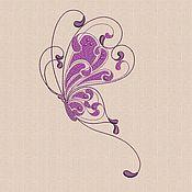Материалы для творчества ручной работы. Ярмарка Мастеров - ручная работа Дизайн машинная вышивка Винтажная бабочка bt180. Handmade.