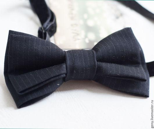 Галстуки, бабочки ручной работы. Ярмарка Мастеров - ручная работа. Купить Бабочка Синевато-черная. Handmade. Темно-серый