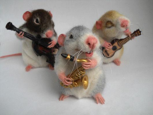 """Игрушки животные, ручной работы. Ярмарка Мастеров - ручная работа. Купить """"В джазе только..."""". Handmade. Крыса, котрабас"""