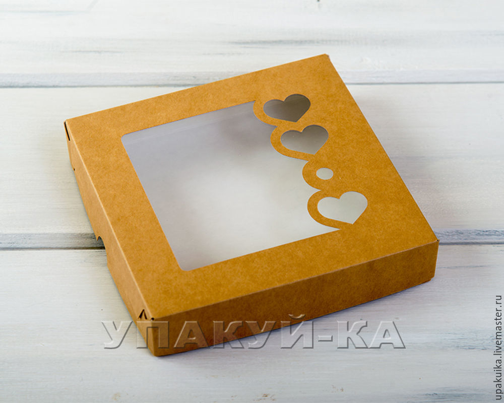 Коробка для пряников и печенья «Сердца», 16х16х3 см, с прозрачным окошком, крафт (Арт. 0102009) Размер: 16х16х3см Материал: целлюлозный картон