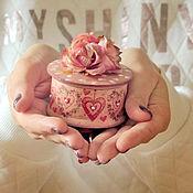 Шкатулки ручной работы. Ярмарка Мастеров - ручная работа Миниатюрная шкатулка, круглая шкатулка, шкатулка для девушки. Handmade.