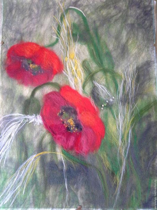 Картины цветов ручной работы. Ярмарка Мастеров - ручная работа. Купить Картина шерстью `Маки`. Handmade.