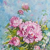 Картины и панно handmade. Livemaster - original item Pink peonies oil Painting on canvas 30h40 cm. Handmade.