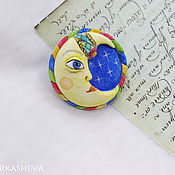 Brooches handmade. Livemaster - original item Crescent brooch hand painted. Handmade.
