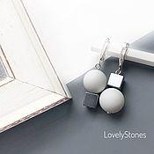 Украшения handmade. Livemaster - original item Asymmetric Chess earrings with white agate and grey hematite. Handmade.