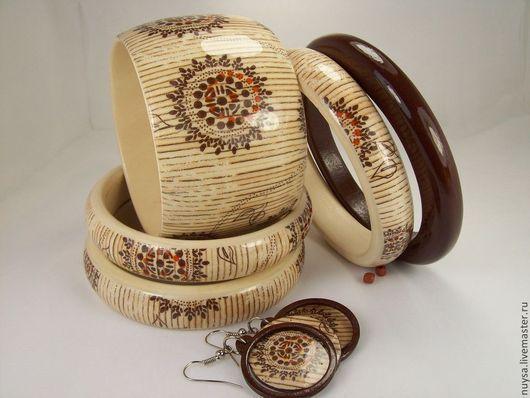 Браслеты на руку, Деревянные украшения Комплект браслеты серьги Восток Декупаж бижутерия