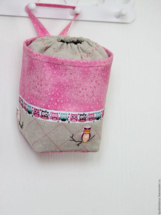 """Корзины, коробы ручной работы. Ярмарка Мастеров - ручная работа. Купить Клубочница текстильная """"Совушки"""". Handmade. Розовый, подарок девочке"""