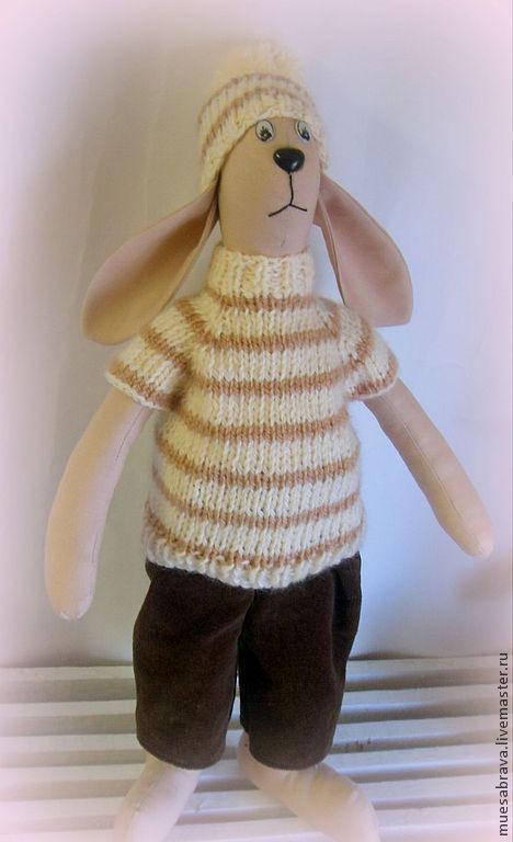 Игрушки животные, ручной работы. Ярмарка Мастеров - ручная работа. Купить заяц. Handmade. Бежевый, вязаное